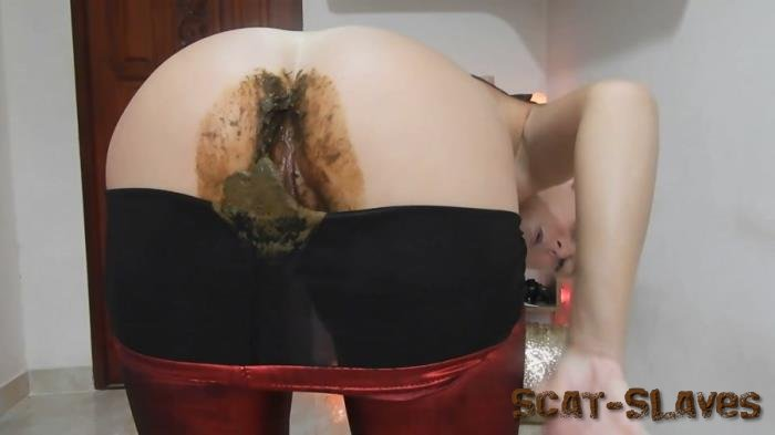 Shit in Legs: (MissAnja) - Nasty Nasty Red Shiny Leggings Poo/Farts [FullHD 1080p] (1.41 GB)